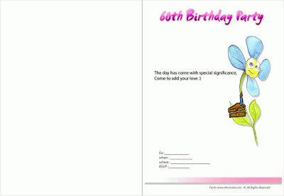 Tarjetas de Invitaci�n - Fiestas de Cumplea�os 60 A�os