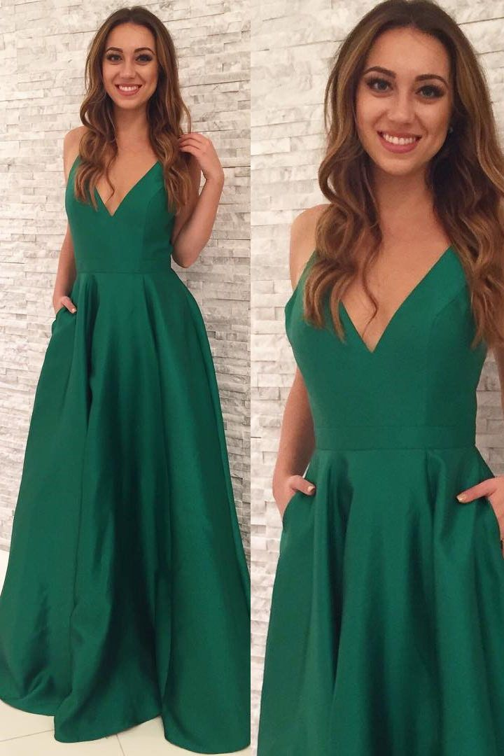 Elegant Straps Green Long Prom Dress with Pockets