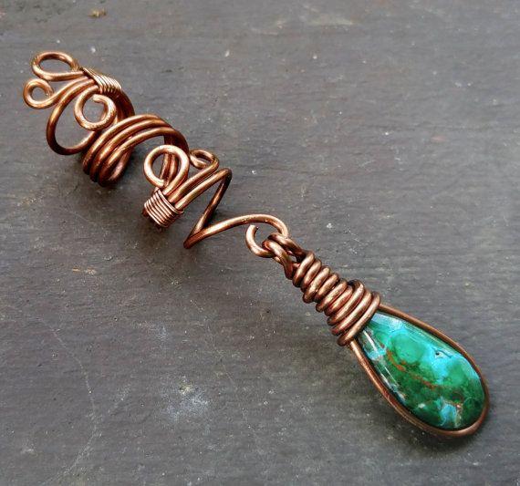 Chrysocolla & Malachite Stone Dread Bead by HeatherfishCreations