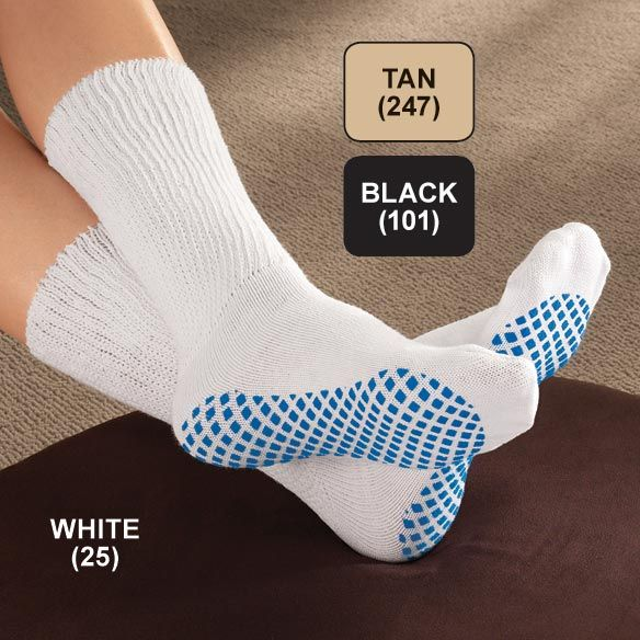 The Diabetic Slipper Socks help reduce pressure on sensitive legs.  The wide, non-binding opening stays put and the gripper soles help prevent falls.