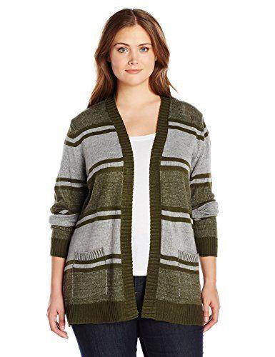 Jason Maxwell Women's Plus Size L/s Stripe Boyfriend Cardigan Sweater