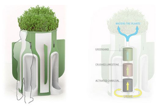 Public Urinal Planter Harnesses the Power of Pee to Fertilize Plants
