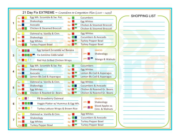 21 day fix extreme competition meal plan look inside here is a sample