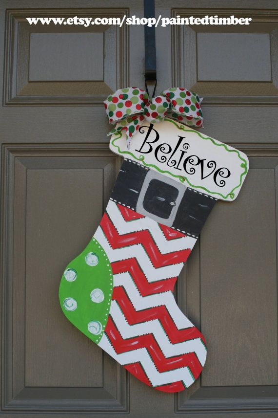 Christmas stocking door hanger by PaintedTimber on Etsy