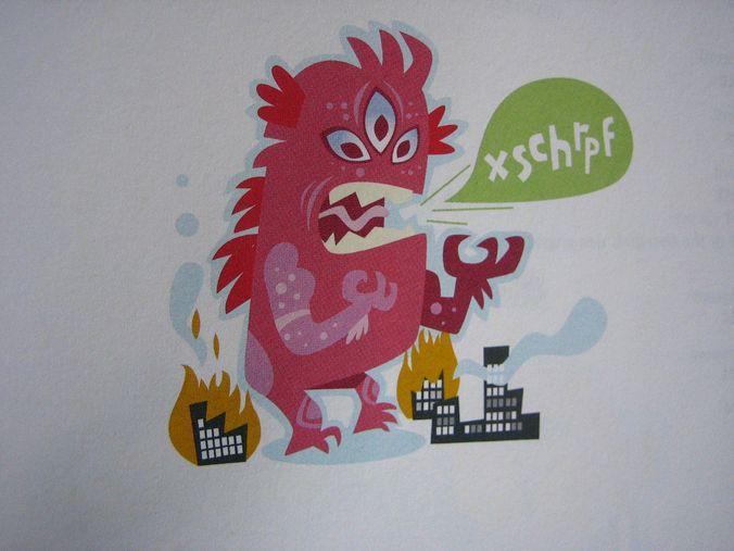 Pink monster drawn for Danish English Dictionary - (Politiken) http://www.adlibris.com/se/bok/politikens-forste-engelskordbog-9788756784443 by Luke Seguin-Magee