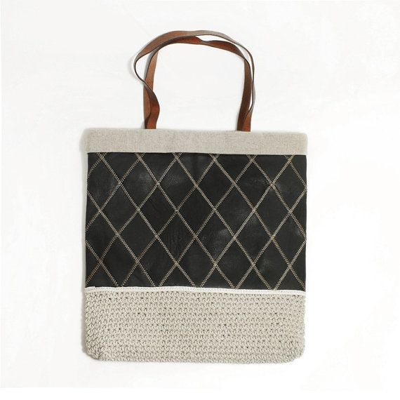 Genuine Leather Handbag Kniting Handmade Purse by MillionKnit, $79.00
