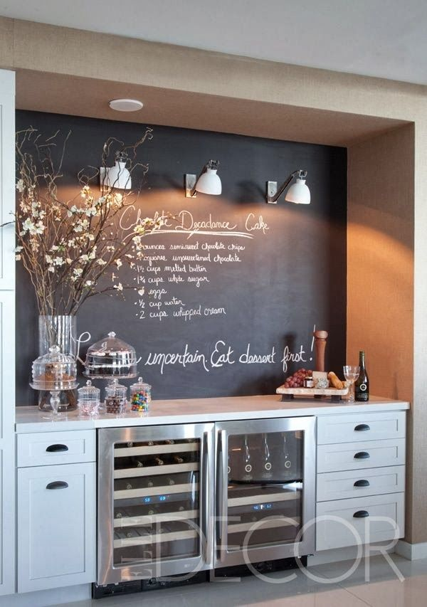 love the idea of a coffee barbeverage station in a kitchen great serving area and the chalkboard wall is fantastic too hmmm this would be fun with a built coffee bar makeover
