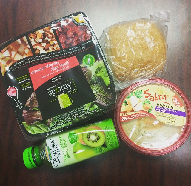 When I had to buy lunch/snacks and I went to the grocery store in the morning and grabbed a few kinda sorta  maybe healthy items. Blogged. I did it twice, lol.! $10 budget