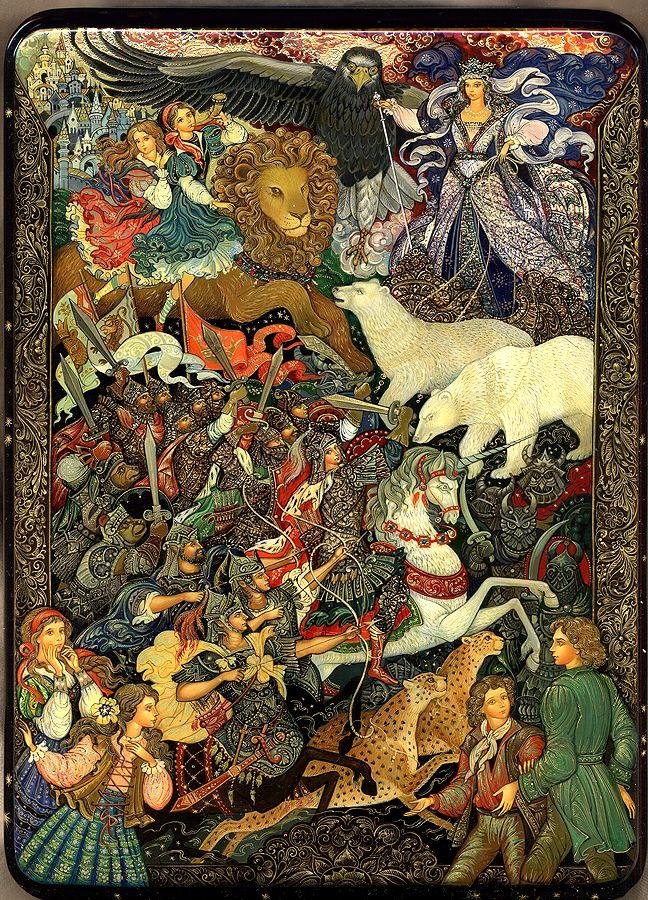 Vera Smirnova, Palekh Russian Lacquer box - The Chronicles of Narnia. #narnia #art