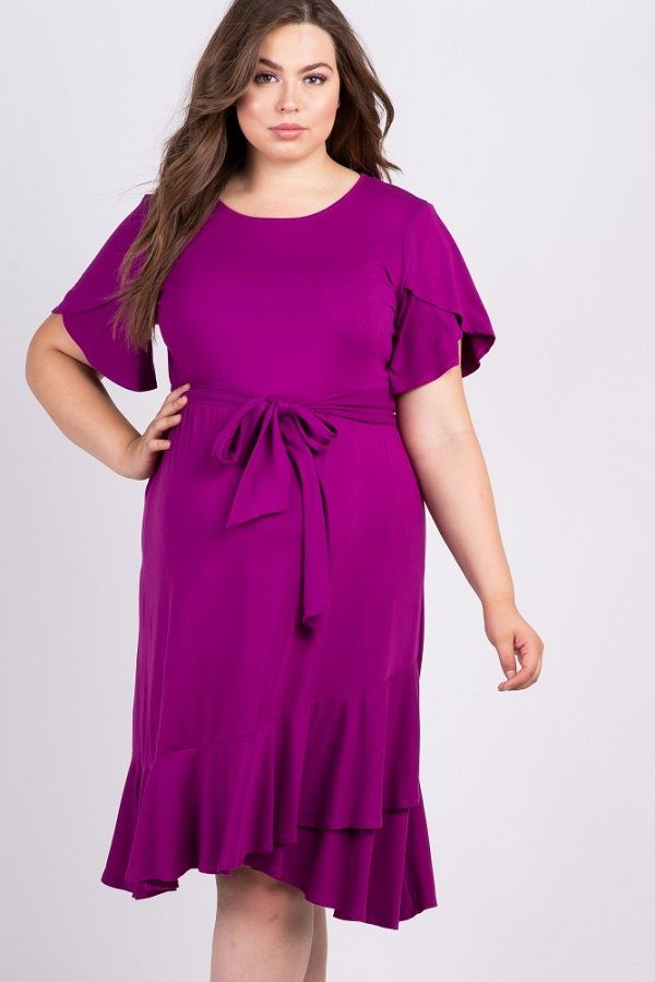 64f8f6c0948 Magenta Solid Ruffle Accent Wrap Skirt Plus Size Maternity Dress - A solid  hued