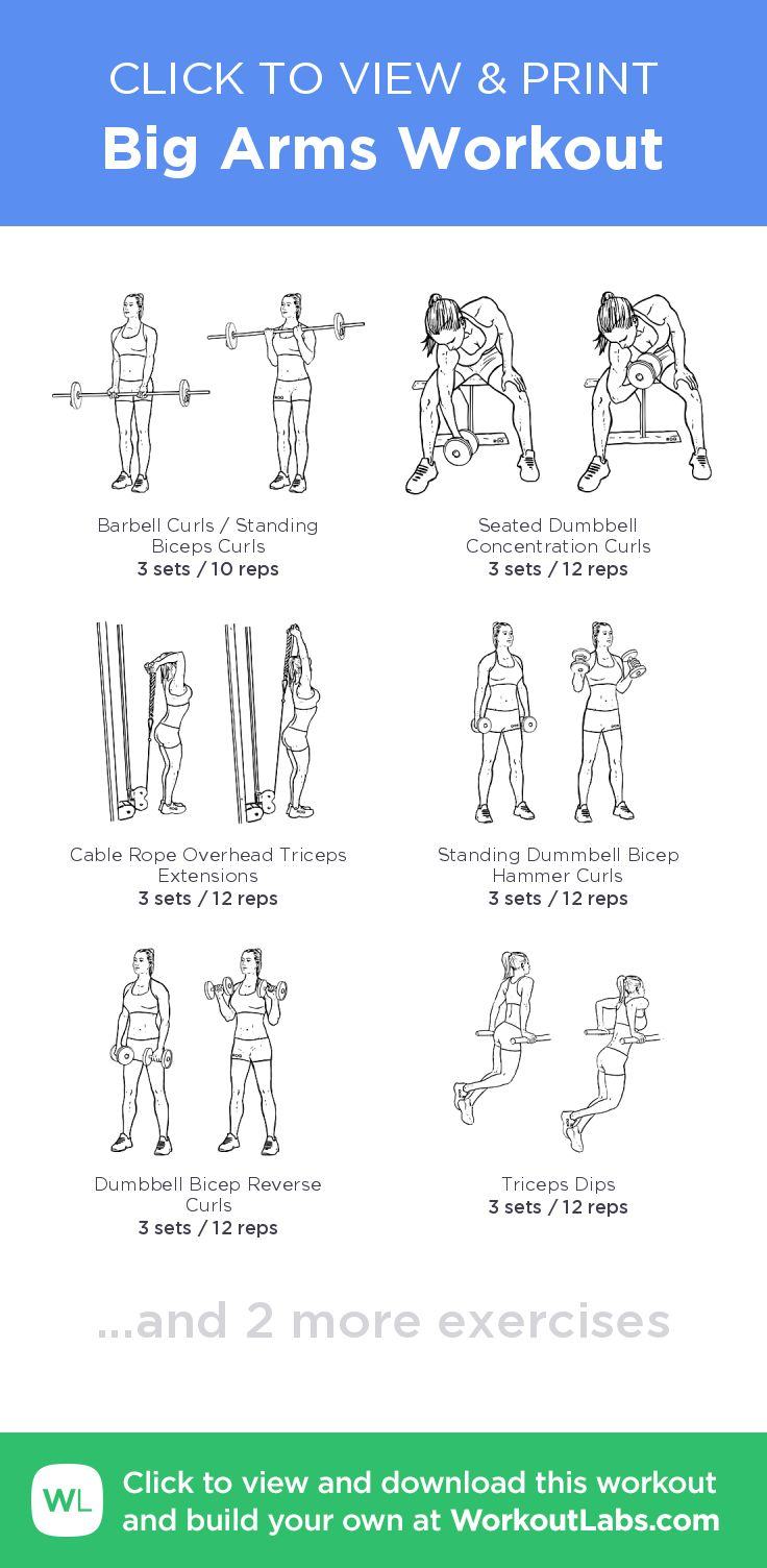 Big Arms Workout –click to view and print this illustrated exercise plan created with #WorkoutLabsFit