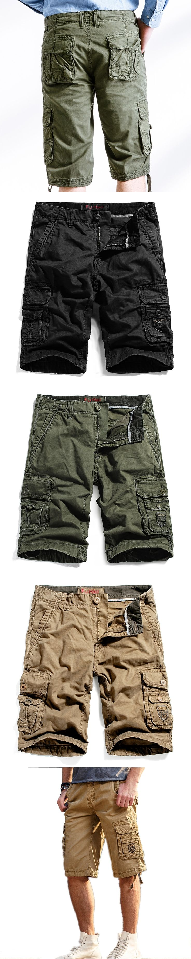 2017 Summer Mens Shorts Casual Loose mens Military Cargo Shorts Without Belt Homme Cotton Army Bermuda Masculina Short Pants 40