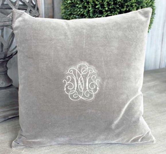 Grey Velvet Monogram Cushion - £24.00 - Hicks and Hicks