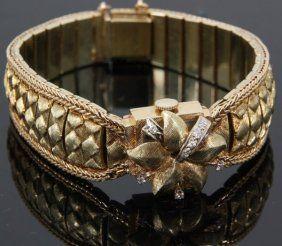 14K Gold & Diamond Ladies Watch : Lot 465