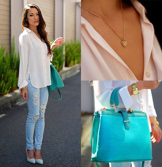 Mimi Boutique Seafoam Bag, Gold Heart Necklace, Pacsun Ripped Denim, Queen's Wardrobe Pink Blouse, Shoe Dazzle Mint And Pink Heels