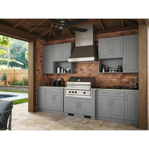 Weatherstrong 12 X 12 In Cabinet Door Sample In Gray Sd1212 Hd Prg The Home Depot Outdoor Kitchen Patio Outdoor Kitchen Cabinets Outdoor Kitchen Countertops