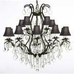 Harrison Lane Versailles 15-Light Black Wrought Iron and Crystal Chandelier with Black Shades