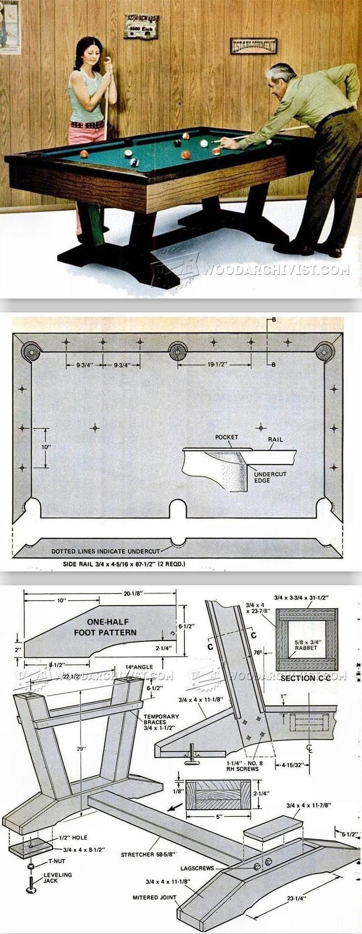De 25 bedste id er inden for mandehybel p pinterest for Pool table woodworking plans