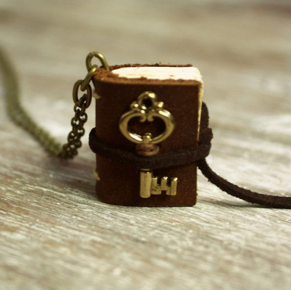 Miniature Leather Journal Necklace with Small Key Charm/Made-to-Order Book Necklace. $15.00, via Etsy.