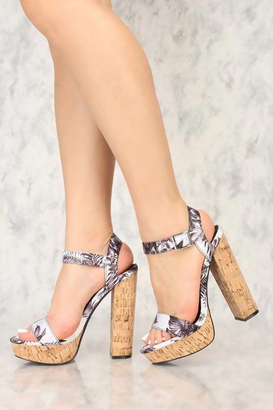 93798952228 Sexy Black Printed Open Toe Cork Platform Chunky High Heels  Platformpumps