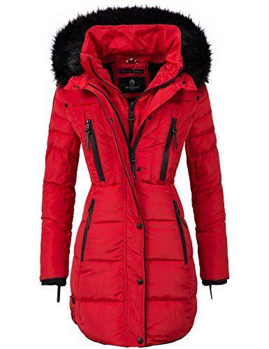 c22e52f4f45a Marikoo Damen Mantel Wintermantel Steppmantel Moonshine (vegan hergestellt)  Rot Gr. M