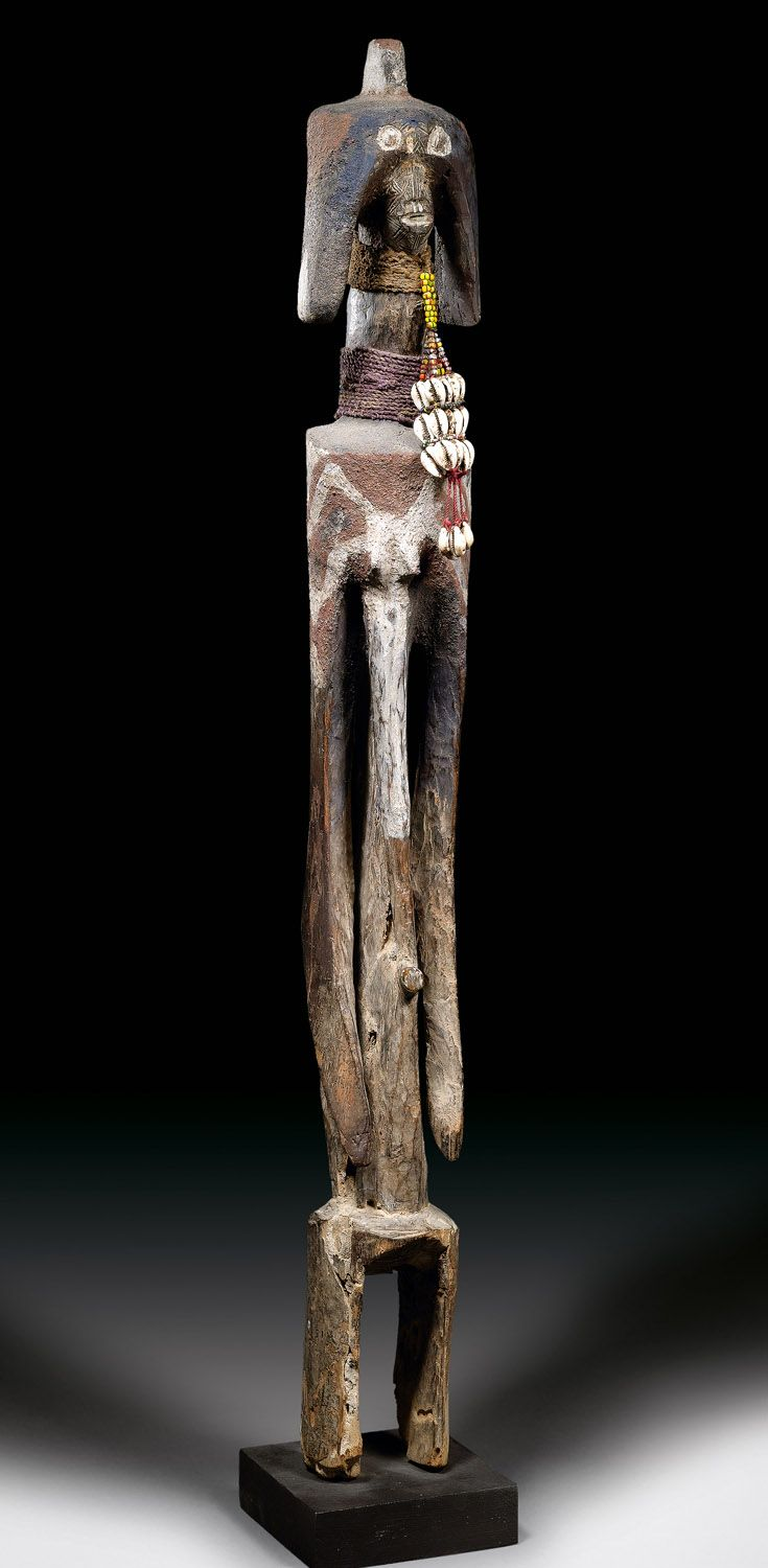 Africa | Figure from the Mumuye people of Nigeria | Wood, glass beads, natural fiber | ca. prior to 1980