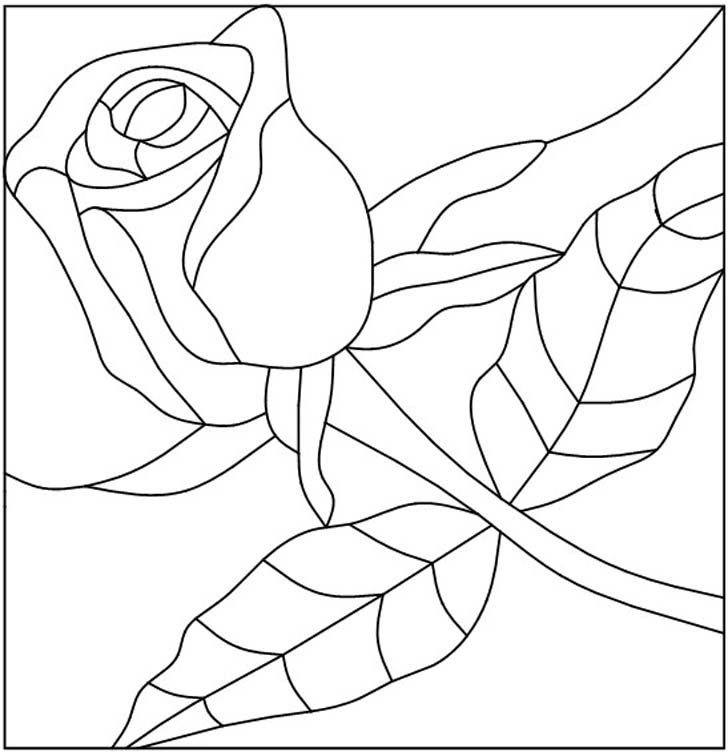 Pink Rose & Stem Stained Glass Pattern
