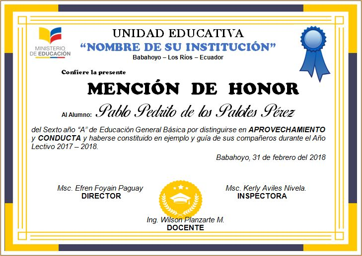9 best Diplomas y Mencion de Honor editables en word images on Pinterest