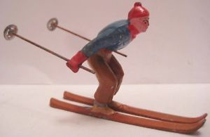 Old-French-Lead-Christmas-Village-Miniature-Man-Downhill-Skiing-Ski-Figure
