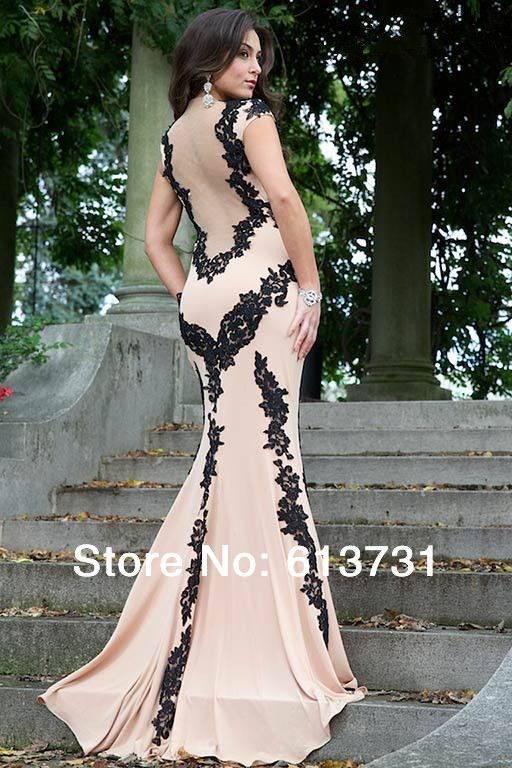 2014 New Hot & Sexy High Collar Champagne and Black Mermaid Lace Prom Dresses Long Evening Gowns Women With Nude Back jov89902