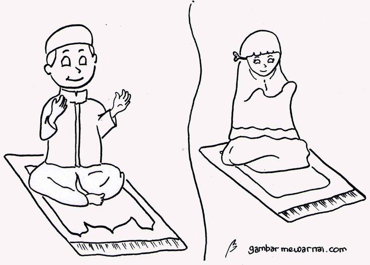 Gambar Anak Berdoa Untuk Diwarnai
