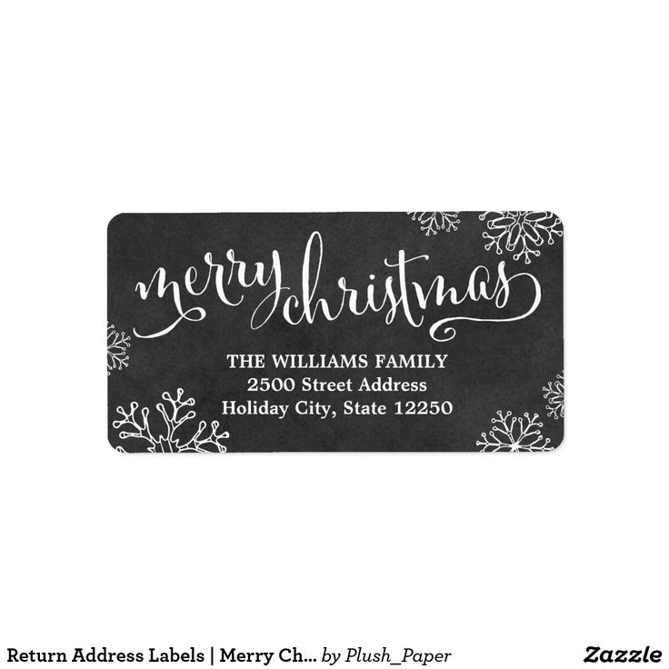 """Return Address Labels   Merry Christmas Chalkboard Dress up your envelopes in style this holiday season! The label design features a """"Merry Christmas"""" in white script text with custom return address text, hand-drawn snowflake border, and background that has a rustic black chalkboard appearance."""