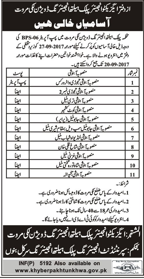 Health Department Govt Of Khyber Pakhtunkhwa KPK Jobs Opportunities http://ift.tt/2wF3s9i   Health Department Govt of KPK  Last Date:  27 Sept 2017 (Walk in Interview)  Location:  Lucky Marwat  Posted on:  05 Sept 2017  Category:  Government  Organization:  Health Department   Website/Email:  N/A  No. of Vacancies  11   Education required:  N/A  How to Apply:  Walk in Interview  Vacant Positions:  Pump Operator (BPS-06)  Postal Address: Executive Engineer Public Health Engineering Division…