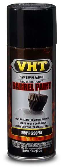 VHT Satin Black Barrel Paint has been custom-formulated to restore motorcycle engines to their factory original appearance. It is extremely resistant to oil, fuel & solvents and is heat resistant to 550°F (287°C).