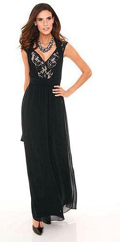Schwarzes, langes Abendkleid von ASHLEY BROOKE EVENT mit Hochwertigem Spitzenbesatz am Bustier und elegantem Rückenausschnitt.