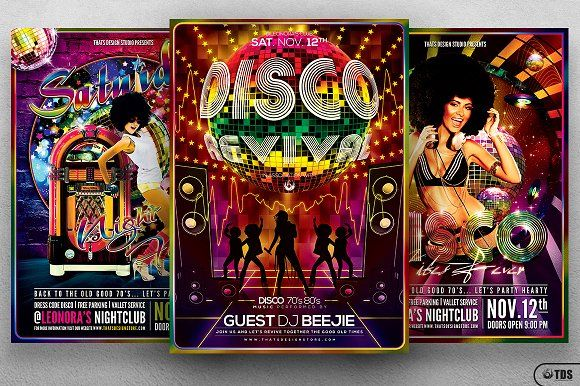 Disco Music Flyer Bundle V1 by Thats Design Store on @creativemarket