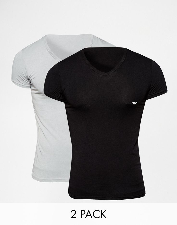 Emporio+Armani+2+Pack+Stretch+Cotton+V-Neck+T-Shirt+In+Muscle+Fit