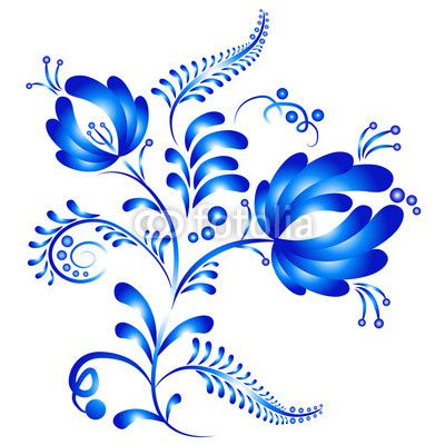 """Фотообои """"russian, folklore, цветке - цветочный орнамент в стиле гжель. русский фольклор"""" ✓ Простой монтаж ✓ Возврат 365 дней ✓ Посмотрите другие дизайны с этой коллекции!"""