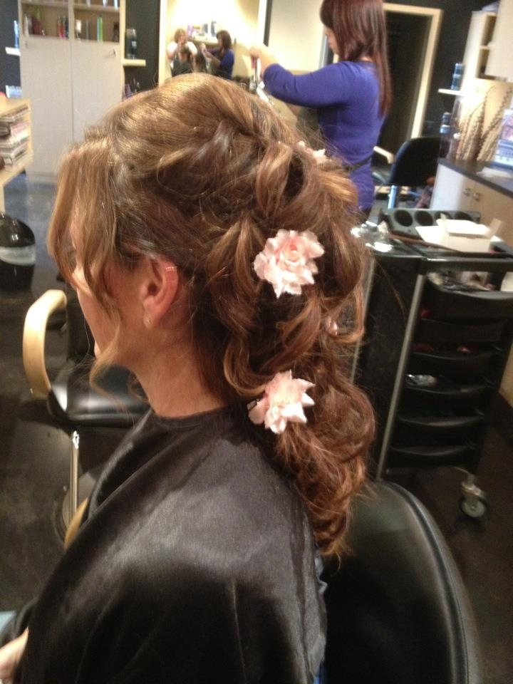 Beautiful wedding updo with flowers - Jody's Flair for Hair