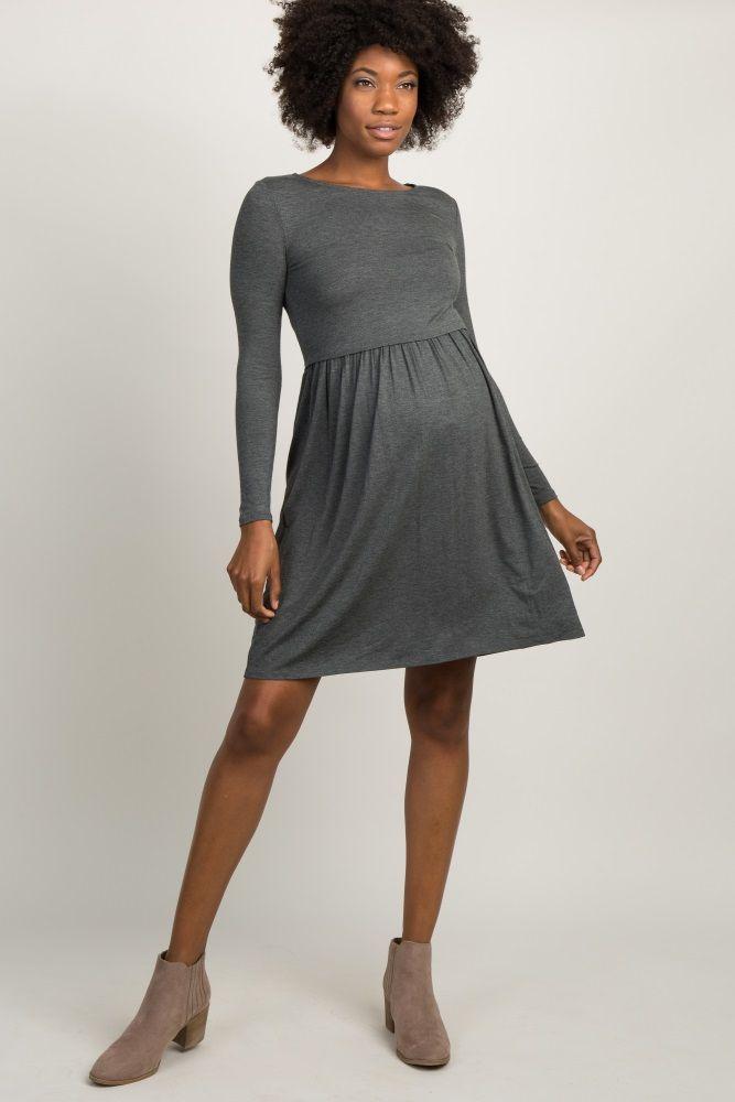 9faad978050 Charcoal Grey Long Sleeve Pleated Maternity Dress | Pregos/Nursing ...