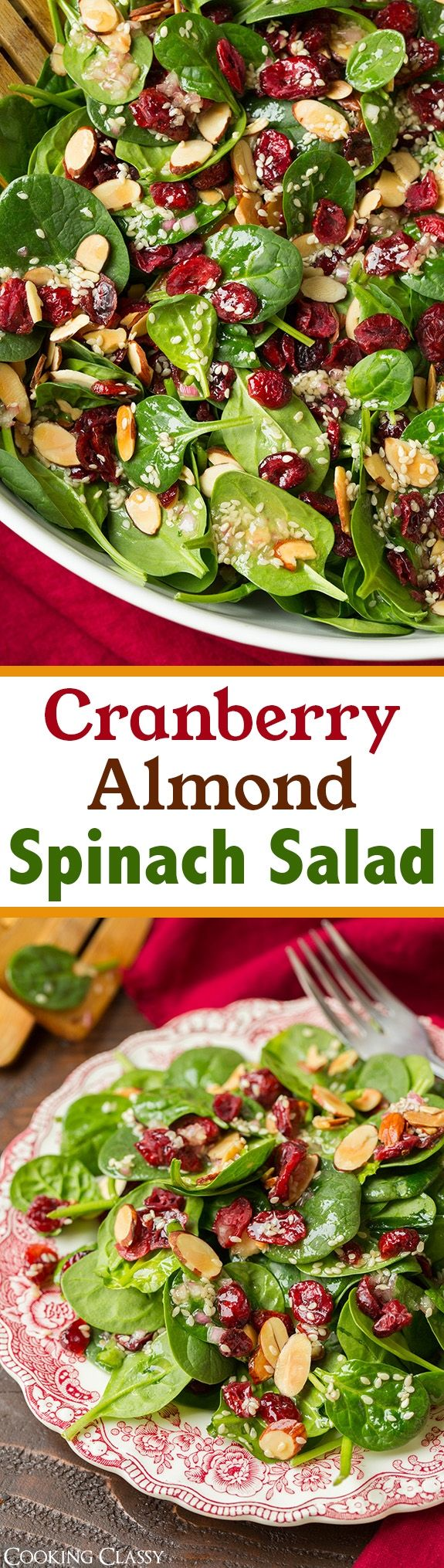 Cranberry Almond Spinach Salad with Sesame Seeds Dressing - delicious, simple salad! Perfect for Christmas! #weightlossrecipes