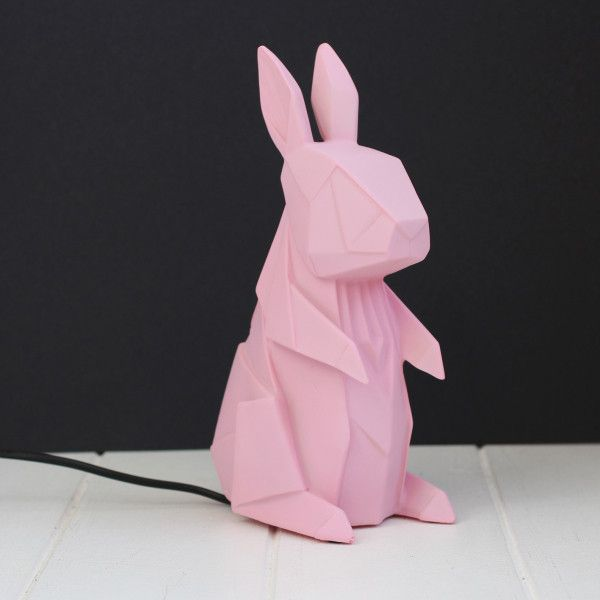 Rabbit Geometric Origami Lamp ($52) ❤ liked on Polyvore featuring home, lighting, pink lights, rabbit lights, bunny lamp, pink night light and geometric lamp