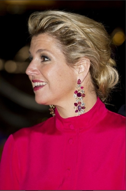 Queen Maxima's hair details and earrings during a visit in Baden-Wuerttemberg at the Mercedes-Benz Museum on 4 June 2013 in Stuttgart, Germany