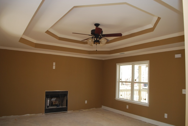 Double step tray ceiling. The color of the living room is Benjamin Moore Tyler Taupe.