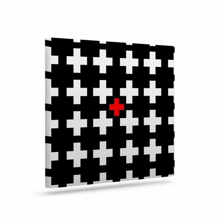 "Suzanne Carter ""Swiss Cross"" Black White Canvas Art"