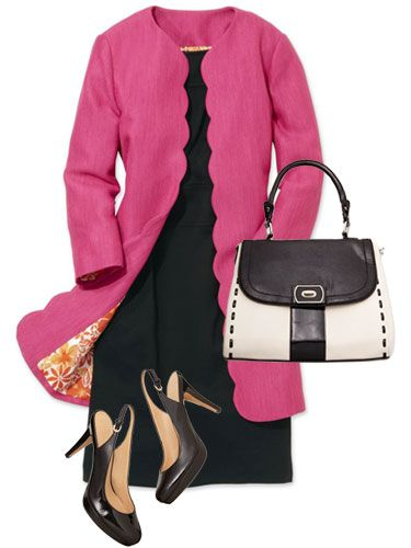 A swingy, scalloped coat in flirty pink perks up an LBD.