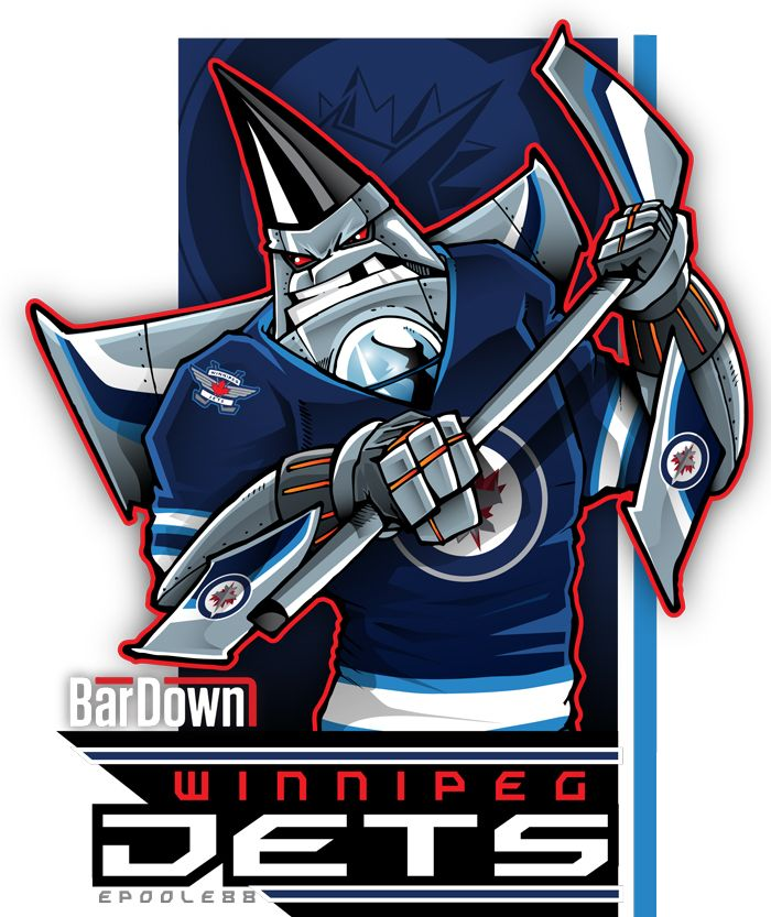 Proving once and for all that Winnipeg Jets fans are pin heads: Eric Poole.  More of his awesome work at http://epoole88.tumblr.com
