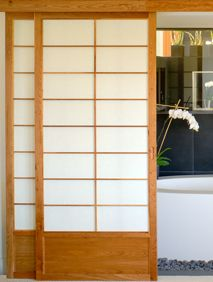 Shoji screen sliding doors - frame painted white. Install in between rumpus and front area?