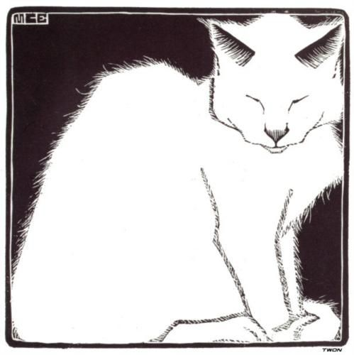 """""""White Cat I"""" (1919) by M.C. Escher via Wikipaintings."""