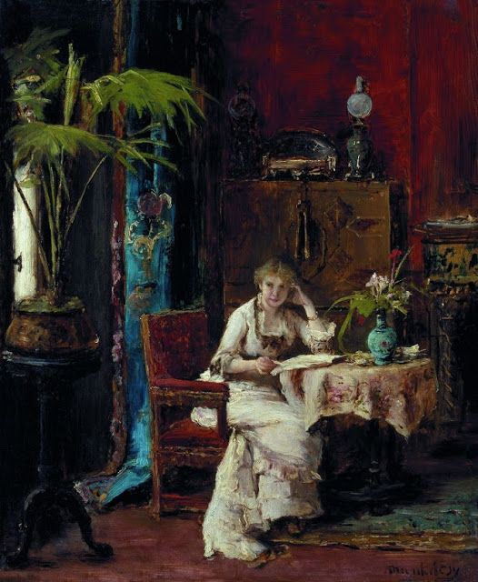 All Art: Mihály Munkácsy (Hungarian, 1844-1900) - Woman Reading (Oil on paper. Magyar Nemzeti Galéria - Hungarian National Gallery, Budapest) - - In 1867 Munkácsy travelled to Paris to see the Universal Exposition. After this trip his style became much lighter, with broader brushstrokes and tonal colour schemes - he was probably influenced by modern French painting seen at the Exposition…